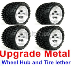 WPL C14 C-14 Hercules Parts-02-13 Upgrade Metal wheel hub and Tire lether(4 set)-White