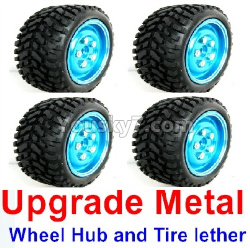 WPL C14 C-14 Hercules Parts-02-17 Upgrade Metal wheel hub and Tire lether(4 set)-Blue