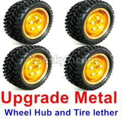 WPL C14 C-14 Hercules Parts-02-19 Upgrade Metal wheel hub and Tire lether(4 set)-Orange