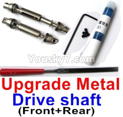 WPL C14 C-14 Hercules Parts-04-04 Upgrade Front and Rear Metal Drive shaft(2pcs-Silver color)-with screws,wrench and Sickle