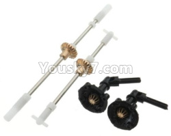 WPL C14 C-14 Hercules Parts-08-01 Front and rear axle shaft with copper teeth & Output shaft cover(2pcs)