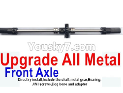 WPL C14 C-14 Hercules Parts-08-07 Upgrade All Metal Front axle shaft(Directlry install,Include the shaft,metal gear,Bearing)