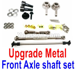 WPL C14 C-14 Hercules Parts-08-10 Upgrade Front All Metal Axle shaft Set-Silver