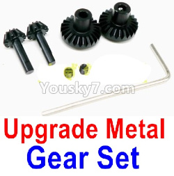 WPL C14 C-14 Hercules Parts-08-13 Upgrade Metal Gear set(Total 4pcs) with Wrench and JIMI Screws-Black color