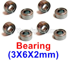 WPL C14 C-14 Hercules Parts-08-23 Bearing(3X6X2mm)-8pcs
