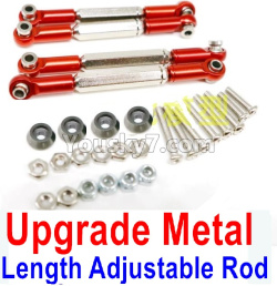 WPL C14 C-14 Hercules Parts-08-28 Upgrade Metal Length Adjustable Rod(4pcs)-Red