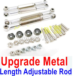 WPL C14 C-14 Hercules Parts-08-29 Upgrade Metal Length Adjustable Rod(4pcs)-Silver