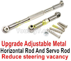 WPL C14 C-14 Hercules Parts-09-07 Upgrade Adjustable Metal Horizontal Rod and Servo Rod-Include the Wrench and Screws-Reduce steering vacancy-Silver
