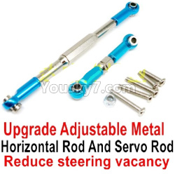 WPL C14 C-14 Hercules Parts-09-08 Upgrade Adjustable Metal Horizontal Rod and Servo Rod-Include the Wrench and Screws-Reduce steering vacancy-Blue