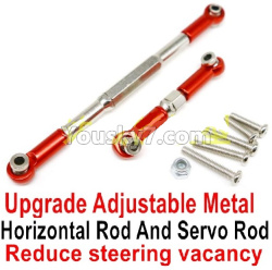 WPL C14 C-14 Hercules Parts-09-10 Upgrade Adjustable Metal Horizontal Rod and Servo Rod-Include the Wrench and Screws-Reduce steering vacancy-Red