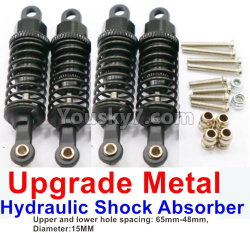 WPL C14 C-14 Hercules Parts-11-08 Upgrade Metal Hydraulic Shock Absorber-Black(4pcs)-Upper and lower hole spacing 65mm-48mm,diameter-15MM
