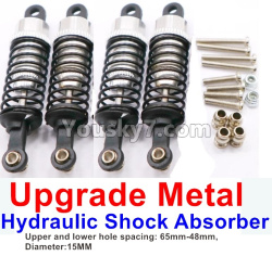 WPL C14 C-14 Hercules Parts-11-09 Upgrade Metal Hydraulic Shock Absorber-Silver(4pcs)-Upper and lower hole spacing 65mm-48mm,diameter-15MM