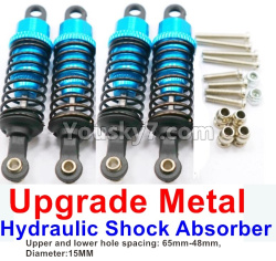 WPL C14 C-14 Hercules Parts-11-10 Upgrade Metal Hydraulic Shock Absorber-Blue(4pcs)-Upper and lower hole spacing 65mm-48mm,diameter-15MM