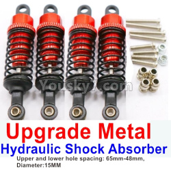 WPL C14 C-14 Hercules Parts-11-11 Upgrade Metal Hydraulic Shock Absorber-Red(4pcs)-Upper and lower hole spacing 65mm-48mm,diameter-15MM
