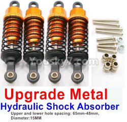 WPL C14 C-14 Hercules Parts-11-12 Upgrade Metal Hydraulic Shock Absorber-Golden(4pcs)-Upper and lower hole spacing 65mm-48mm,diameter-15MM