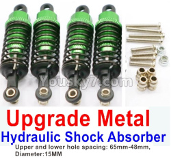 WPL C14 C-14 Hercules Parts-11-13 Upgrade Metal Hydraulic Shock Absorber-Green(4pcs)-Upper and lower hole spacing 65mm-48mm,diameter-15MM