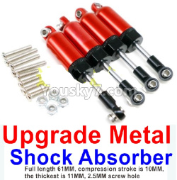 WPL C14 C-14 Hercules Parts-11-16 Upgrade Metal Shock Absorber(4pcs)-Full length 61MM, compression stroke is 10MM,the thickest is 11MM,2.5MM screw hole-Red