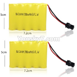 WPL C14 C-14 Hercules Parts-14-02 Official 6V 700MAH Battery(2pcs)-7.2X5CM