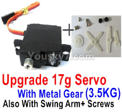 WPL C14 C-14 Hercules Parts-17-02 Upgrade 17g Servo with Meat gear(3.5KG) Swing Arm and Screws