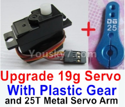 WPL C14 C-14 Hercules Parts-17-03 Upgrade 3-wire 17g Servo & Upgrade 25T Metal Servo Arm