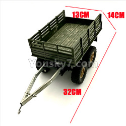 WPL C14 C-14 Hercules Parts-22-01 Original self-loading 4 wheel trailer accessories-For DIY Parts-Green-32X13X14cm