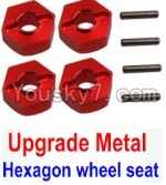 Wltoys 10428 Parts-12-02 Upgrade Metal 12MM Hexagon wheel seat,Tire adapter(4pcs)-Red
