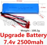 Wltoys 10428 Parts-78-02 Upgrade 7.4v 2500mah 25C battery with T-shape plug(Size-101.6X32.8X14.3MM)-(Weight-106.3g)