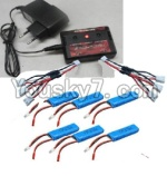 Wltoys 10428 Parts-78-06 Upgrade charger and Balance charger & 2200mah battery(6pcs) & Upgrade 1-to-3 wire(2pcs)