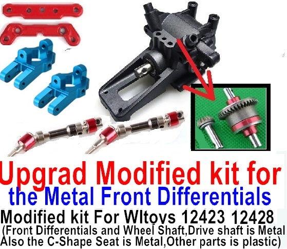 Wltoys 12428 Car Spare Parts Upgrad Modified kit for the Metal Front Differentials-Option 3
