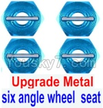 Wltoys 12428 Car Spare Parts-0044-02 Upgrade Metal Combination device, six angle wheel seat(4pcs)