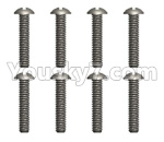 Wltoys 124018 Parts Cross round head tooth screw -3X12PM-8pcs-12401.0256