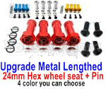 Wltoys 124018 Parts Upgrade Metal Lengthed 24mm Hex wheel seat with pin-4 set-4 Color you can choose
