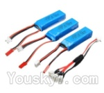 Wltoys A202 A212 A222 A232 A242 A252 Parts-20 7.4v 500mah battery(3pcs) & Upgrade 1-to-3 conversion Charging cable(1pcs)