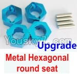 Wltoys A969 Parts-42 Upgrade Metal Hexagonal round seat(4pcs)(4pcs)-Blue