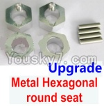 Wltoys A969 Parts-43 Upgrade Metal Hexagonal round seat(4pcs)(4pcs)-Silver