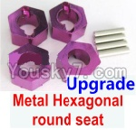 Wltoys A969 Parts-45 Upgrade Metal Hexagonal round seat(4pcs)-Purple