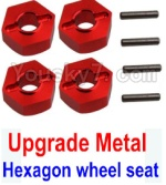 Wltoys K949 Parts-12-02 Upgrade Metal 12MM Hexagon wheel seat,Tire adapter(4pcs)-Red