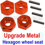 Wltoys K949 Parts-12-03 Upgrade Metal 12MM Hexagon wheel seat,Tire adapter(4pcs)-Orange