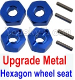 Wltoys K949 Parts-12-04 Upgrade Metal 12MM Hexagon wheel seat,Tire adapter(4pcs)-Dark Blue