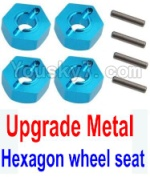 Wltoys K949 Parts-12-04 Upgrade Metal 12MM Hexagon wheel seat,Tire adapter(4pcs)-Light Blue