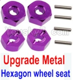 Wltoys K949 Parts-12-05 Upgrade Metal 12MM Hexagon wheel seat,Tire adapter(4pcs)-Purple