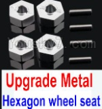Wltoys K949 Parts-12-06 Upgrade Metal 12MM Hexagon wheel seat,Tire adapter(4pcs)-Silver