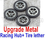 Wltoys P929 Spare Parts-60-02 Upgrade Metal Racing Hub(4pcs) & Upgrade Racing Trie lether(4pcs)-Black