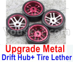Wltoys P929 Spare Parts-60-03 Upgrade Metal Drift Hub(4pcs) & Upgrade Drift Trie lether(4pcs)-Purple