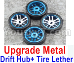 Wltoys K999 Spare Parts-60-04 Upgrade Metal Drift Hub(4pcs) & Upgrade Drift Trie lether(4pcs)-Blue