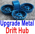 Wltoys K999 Spare Parts-61-04 Upgrade Metal Drift Hub(4pcs)(Can only match the Drift Tire lether)-Blue