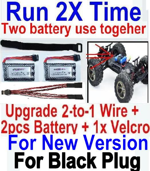 XinleHong Toys 9115 RC Car Parts-69-01 Upgrade 2-to-1 wire and Velcro & 2pcs Battery-Two battery can use together,Run 2x Time than usual