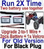 XinleHong Toys 9120 Upgrade 2-to-1 wire and Velcro & 2pcs Battery-Two battery can use together,Run 2x Time than usual