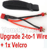 Hosim 9125 Upgrade Parts-Upgrade 2-to-1 wire and Velcro-Two battery can use together,Run 2x Time than usual