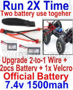 Hosim 9125 Upgrade 2-to-1 wire and Velcro & 2pcs Battery-Two battery can Be used together,Run 2x Time than usual